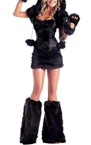[Allbebe Women's Sexy Halloween Plush Animal Fur Black Bears Cosplay Costume] (Sexy Cosplay Ideas)