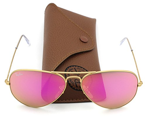 Ray-Ban RB3025 112/4T Aviator Gold Frame / Cyclamen Flash Lens - Ban Ray Aviator Pink