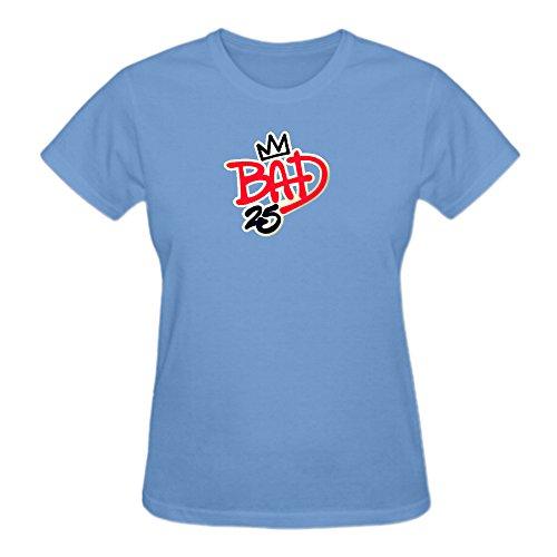 Michael Jackson Bad 25th Anniversary Pure Cotton Cotton T Shirt For Women O-Neck Blue