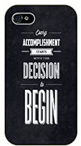 """iPhone 6 (4.7"""") Every accomplishment starts with the decision to try - Charcoal - black plastic case / Life, dreamer's inspirational and motivational quotes"""