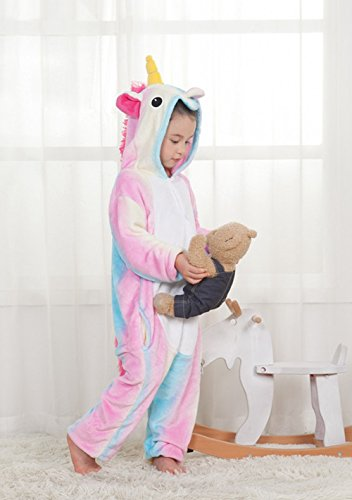 Famycos One-piece Animal Costumes Pajama for Unisex Family School Cosplay Party Colored Blue Unicorn Kids-10 by Famycos (Image #4)