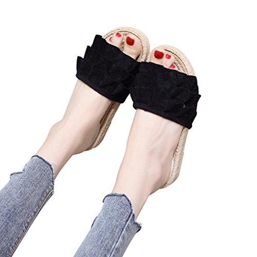 évider Toe Tongs Plat Black Sandales Unie Carré De Sandales Plates Chaussures Tressées Bout Plates Talon Sport Sangles De Sandales Femmes Plage Mode de Femmes Couleur D'extérieur Chaussures xFTXF4
