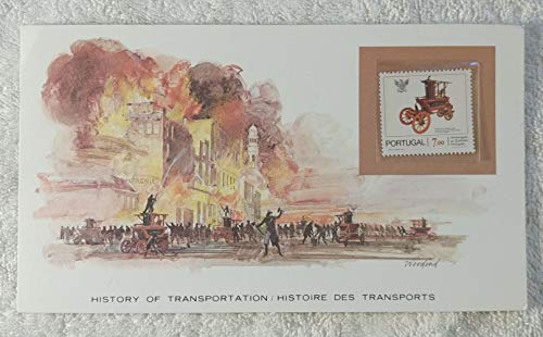(The Fire Engine #2 - Postage Stamp (Portugal, 1981) & Art Panel - The History of Transportation - Franklin Mint (Limited Edition, 1986) - Pearier Pump Fire Truck, Firefighting)