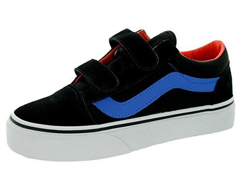 Vans Kids Skool V Black/Strong Blue Skate Shoe 11.5 Kids US