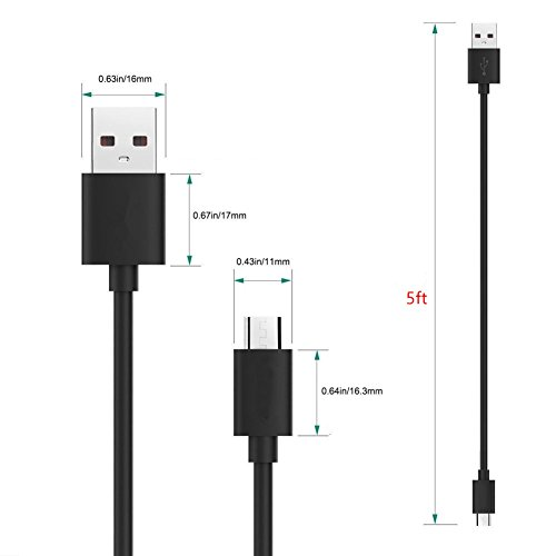 "SZYSK UL Kindle Fire Power Cord AC Adapter 2A Rapid Charger with 5ft Micro-USB Cable Compatible for Fast Charging Hd Hdx 6"" 7"" 8.9"" 9.7"" Tablet and Phone Tab Power Cord"
