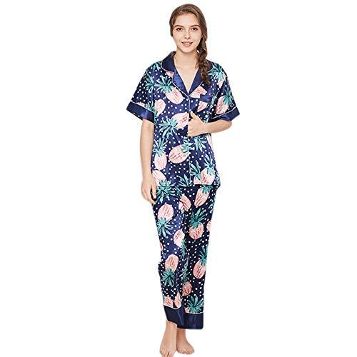 SODIAL Spring Autumn Woman Ladies Home Short Sleeve Silk Cute Pineapple  Print Women Pajamas Sets Suits 6e86e3e1e