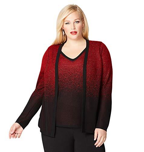 Avenue Women's Red Lurex 2fer Cardigan, 14/16 Red
