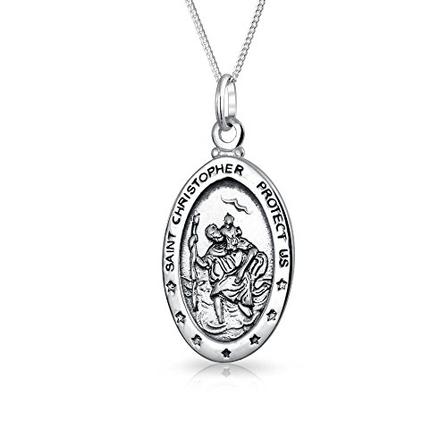 Saint Christopher Protect Us Religious Medallion Sterling Silver Pendant Necklace 16 Inches