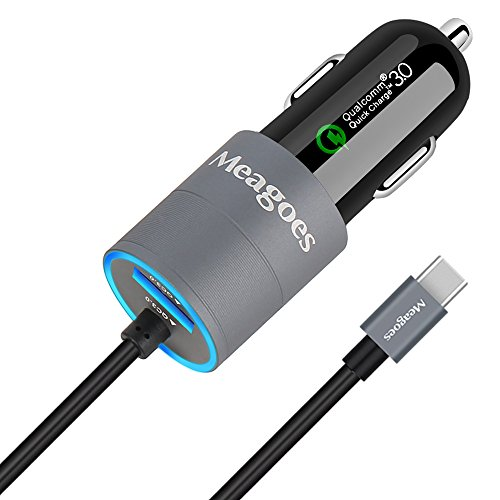 Meagoes Dual Quick Charge 3.0 USB Type C Car Charger Adapter, Compatible Samsung Note 9/8, Galaxy S9/S9+/S8 Plus, LG V35/G7 ThinQ, HTC U12+/U11/10, Moto Z3/Z2 Play, with Built-in Straight USB C Cord