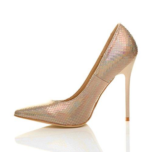 Damen Höher Absatz Kontrast Stilettos High Heels Spitz Gepflegt Fesch Arbeit Pumps Schuhe Gold Meerjungfrau