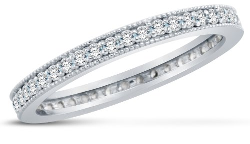 Size 8 - 3mm Small Thin Solid 14K White Gold Channel Set Round Brilliant Cut Highest Quality CZ Cubic Zirconia Eternity Anniversary or Wedding Ring Band (Available in sizes 5 , 6 , 7 & 8)