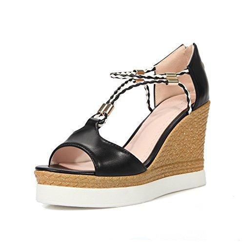 Amoonyfashion Womens High Heels Assorted Color Rits Open Teen Sandalen Zwart