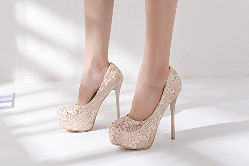 high Sky FAY Heels Mila Lady Sparkles Gold Elegance Embroidered Lady Lace Platform xCAwZ