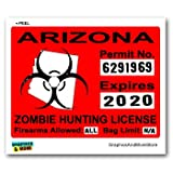 Arizona AZ Zombie Hunting License Permit Red - Biohazard Response Team - Window Bumper Locker Sticker