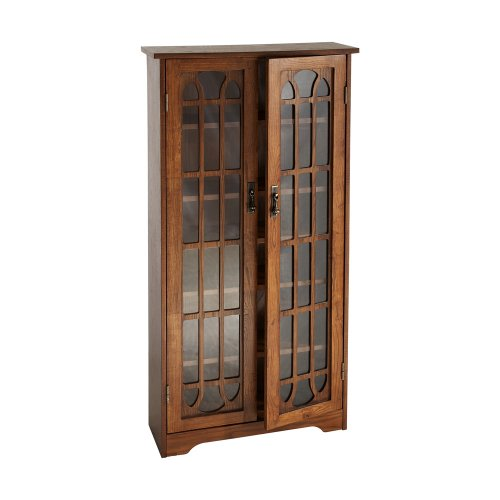 Oak Shelf Glass - Window Pane Media Cabinet - CD & DVD Holder w/ Adjustable Shelves - Oak Finish