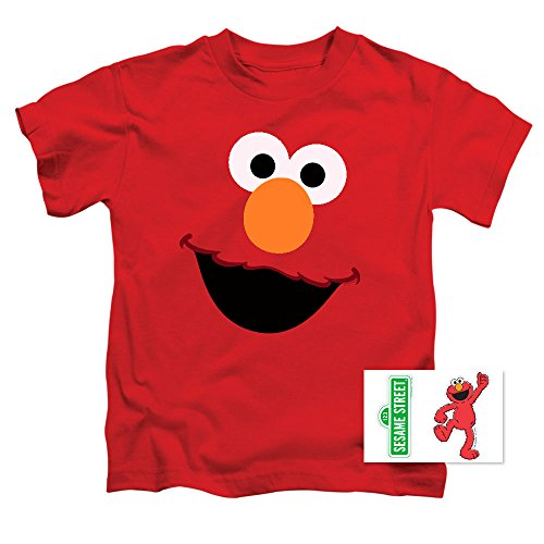Popfunk Toddler Sesame Street Elmo Face T Shirt & Exclusive Stickers (4T)
