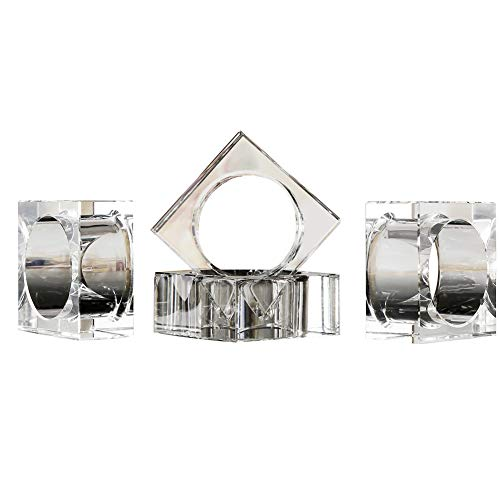 DONOUCLS Crystal Napkin Holder Rings Square Design Christmas Decorations for Dinner Clear 2'' Set of 4 by DONOUCLS
