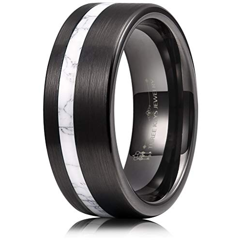 THREE KEYS JEWELRY 8mm Men's Tungsten Rings with White Turquoise Inlay Black Carbide Brushed Wedding Bands for Men Women Comfort Fit Size 8