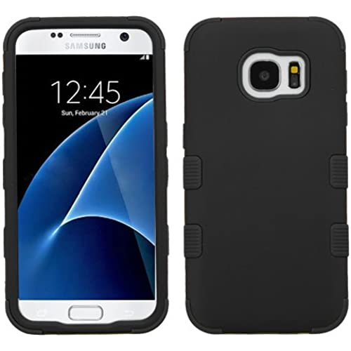 Galaxy S7 Case, Rock Me Wireless (TM) 2 items Bundle - 24K Gold Plating Sticker and Triple Layers Hybrid Protector Case Cover for Samsung Galaxy S7. (Black / Black) Sales