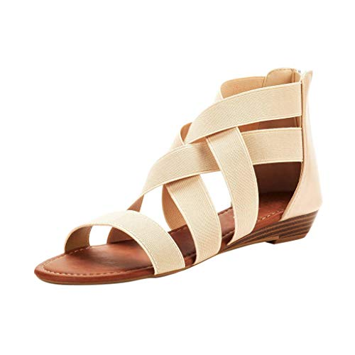 (Women's Summer Comfort Ankle Low Wedges Sandals Cross Elastic Strap Open Toe Gladiator Flat Shoes Beige)