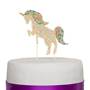 Ella Celebration Rainbow Unicorn Rhinestone Cake Topper Unicorn Cake Decorations for Birthday, Baby Shower, Events