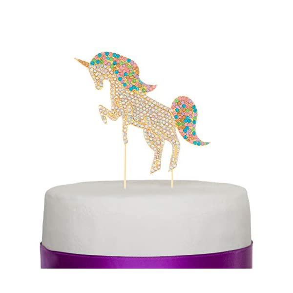 Ella Celebration Unicorn Birthday Cake Topper Unique Reusable Rainbow Rhinestone Cake Decorations for Party, Baby Shower, Event Supplies and Favors (Gold) 3
