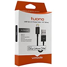 V-MODA Tuono 3.75-Inch (95mm) Apple USB to Lightning Cable (Black)