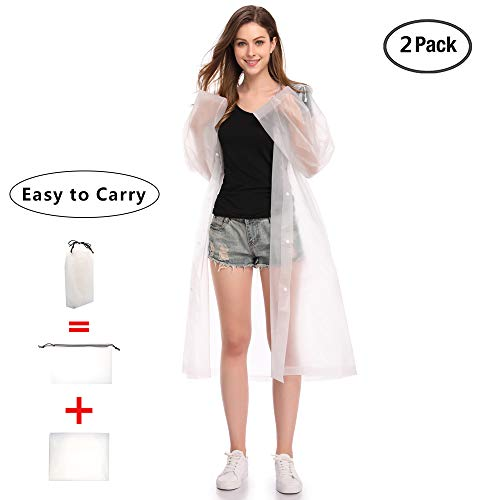 EnergeticSky EVA Portable Raincoat,Reusable Rain Poncho with Hoods and Sleeves,Non-Toxic,No Plastic Smell,Environmentally Friendly,Light Weight and Perfect for Outdoor Activities]()