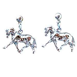 Intrepid International Dressage Platinum Plate Horse Earrings