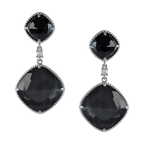 - AURA BY TJM 925 STERLING SILVER CUSHION SHAPE EARRINGS SET WITH 35.43 CTW, CHECKERBOARD CUT CRYSTAL & HEMATITE DOUBLET AND BLACK SPINEL, ACCENTED WITH ROUND WHITE SAPPHIRE