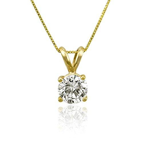 Clara Pucci 3.0 CT Brilliant Round Cut Simulated Diamond CZ 14K Yellow Gold Solitaire Pendant Box Necklace 18 Chain