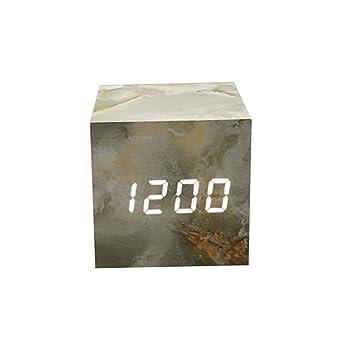 Queta Reloj Despertador LED con Control de Sonidos, Reloj Digital electrónico de Madera para recámara, mesita de Noche, Alimentado por USB/Betterry As Show: ...