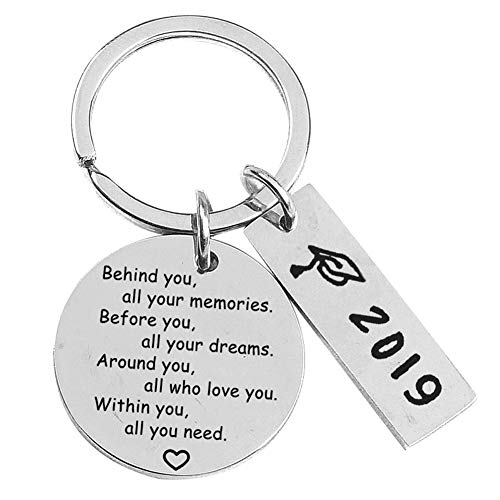 (Keyrings Keychains English Letter Behind You All Your Memories 2019 Graduate Keychain Key Ring Gift)