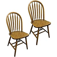 2 Dark Oak Stain Kitchen Dining Arrow Back Chairs Set
