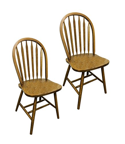 2 Dark Oak Stain Kitchen Dining Arrow Back Chairs Set (Arrow Oak Chair)
