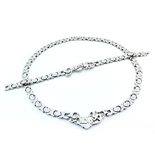 SILVER I LOVE YOU HUGS AND KISSES NECKLACE AND BRACELET SET XOXO 20''