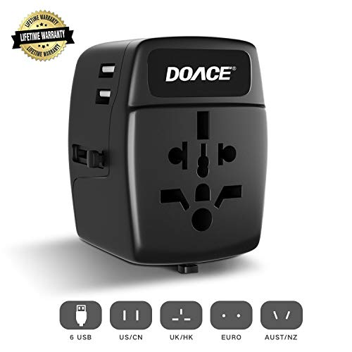 pter with 6-Port USB, DOACE All-in-one International Power Adapter with Suitcase Model, Wall Charger for UK, EU, AU, Asia, 150+ Countries (Black) ()