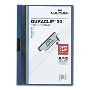 DURABLE Vinyl DuraClip Report Cover with Clip, Letter, Holds 30 Pages, Clear/Dark Blue (220307)