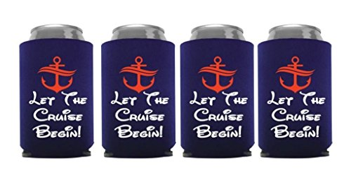 Cruise Ship Gift Ideas Beer Bottle Cooler Sleeve Nautical Party Favor - Set of 4