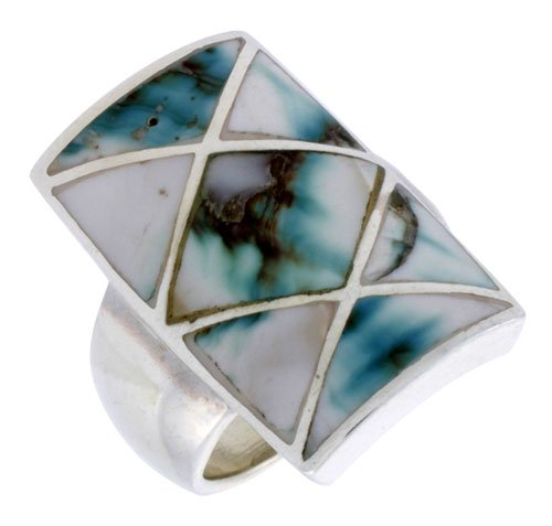 (Sterling Silver Crisscross Rectangular Shell Ring, w/Black & White Mother of Pearl Inlay, 15/16