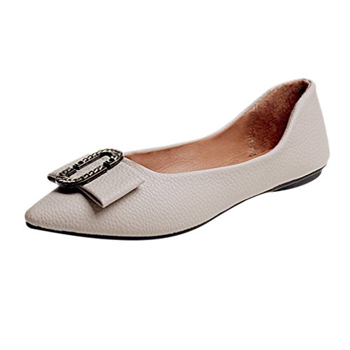 Jitong Vintage Slip-on Moccasins for Ladies Low Top Pointed-Toe Flat Loafers with Buckle Apricot HM4tfoTsJZ