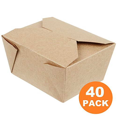 """[40 Pack] 30 oz 5 x 4.5 x 2.5"""" Disposable Paper Take Out Food Containers, Microwaveble Folding Natural Kraft to Go Boxes #1"""