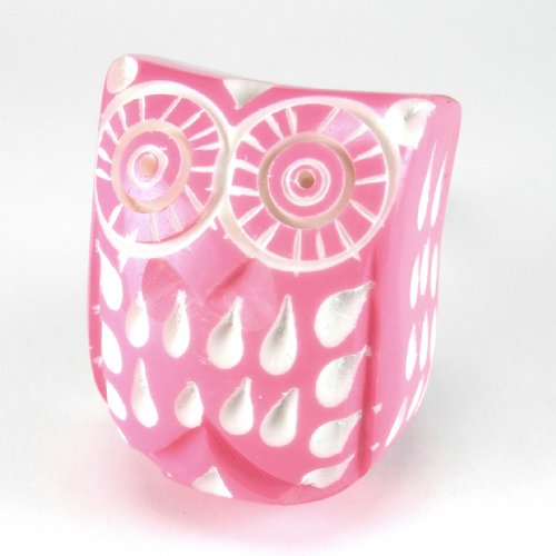 Pink Owl Cabinet Knobs, Whimsical Kitchen Drawer Pulls, Handles Set/2pc ~ C92 Plastic Owl Knobs for Children's Decor, Baby's Nursery, Cabinets, Furniture or Bathroom Vanity with Chrome Hardware. (Knobs Drawer Whimsical)