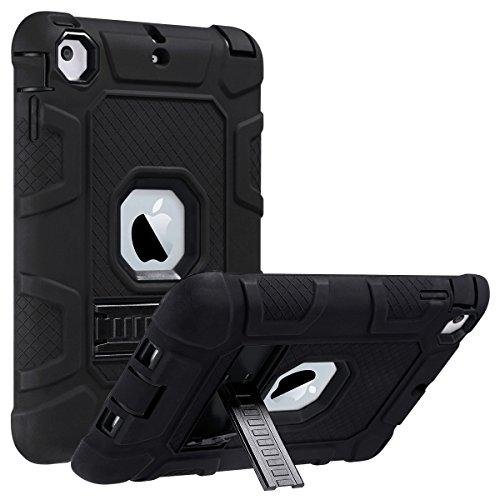ULAK iPad Mini Case,iPad Mini 2 Case,iPad Mini 3 Case,iPad Mini Retina Case, Three Layer Heavy Duty Shockproof Protective Case for iPad Mini,iPad Mini 2,iPad Mini 3 with Kickstand (Black/Black)