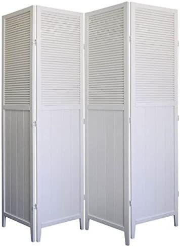 Speedy Checkout 4 Panel Wood Shutter Room Divider Solid Wood, White Finish