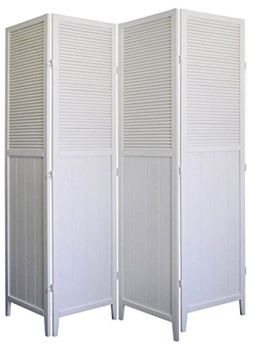 4 Panel Wood Shutter Room Divider Solid Wood, White Finish