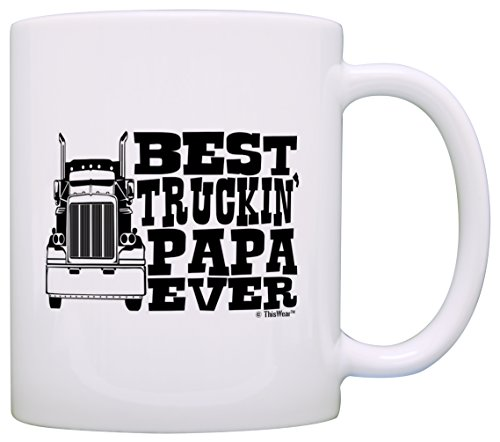 Father's Day Gift for Grandpa Best Truckin' Papa Ever Truck Driver Gift Coffee Mug Tea Cup White