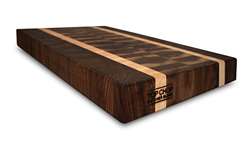 Top Chop Butcher Block Reversible End Grain with Blonde Stripe Cutting Board, Walnut, 16