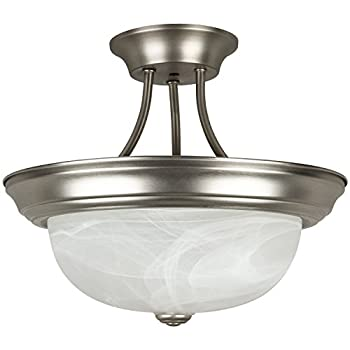 Sunlite S1050A 15.4-Inch Semi Flush Decorative Ceiling Fixture, Satin Nickel with Alabaster Glass