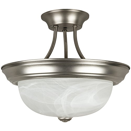 Sunlite S1050A 15.4-Inch Semi Flush Decorative Ceiling Fixture, Satin Nickel with Alabaster Glass (Glass What Alabaster Is)